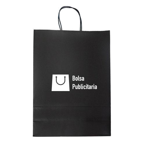 bolsa de papel kraft negro con logo